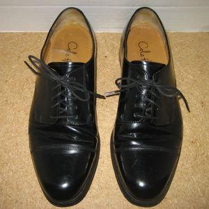 COLE HANN Men's Black Leather Captoe Oxfords, 9 D